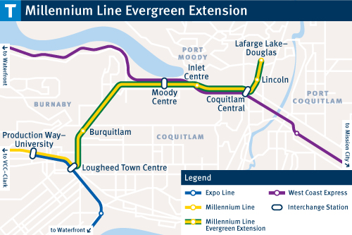Evergreen Line Map Students weigh in on whether TransLink's changes are improving  Evergreen Line Map