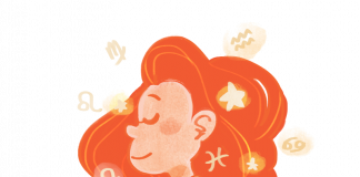 A peaceful cartoon woman surrounded by Zodiac symbols. She wears a yellow dress and has orange hair. Her hands are raised to hold one of the glowing signs.