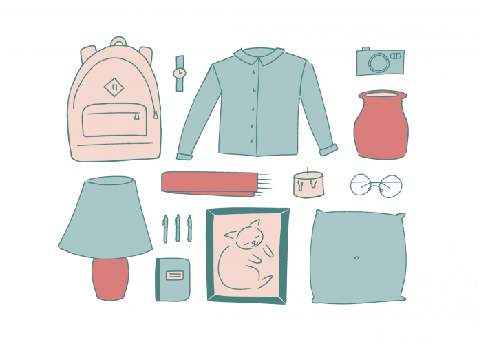 Illustration of fashion and home accessories (backpack, pillow, etc.) in shades of pink and blue