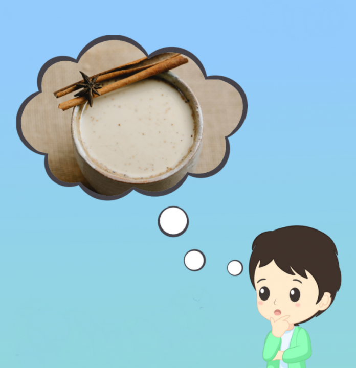Illustration of a person in thinking pose, with thought bubble above filled with image of a cup of chai
