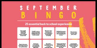"A bingo sheet labeled ""September Bingo"" with joke experiences"