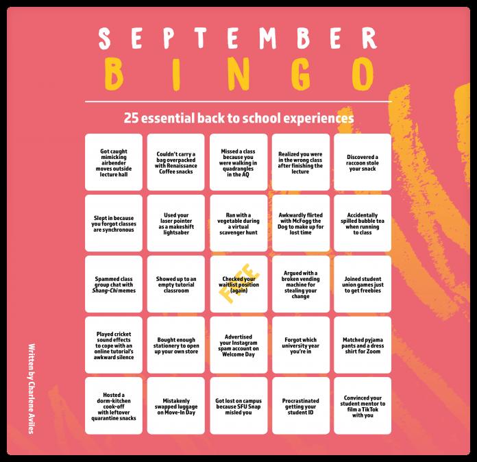 A bingo sheet labeled